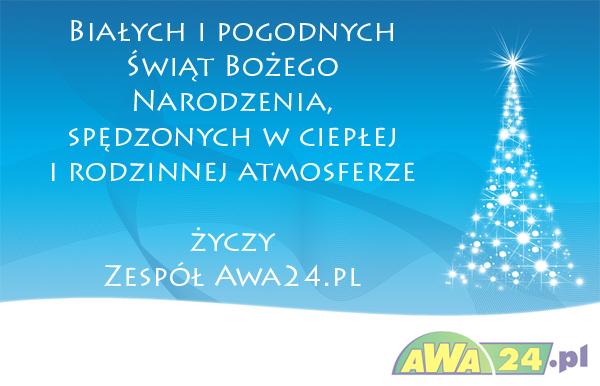 Białych i pogodnych Świąt Bożego Narodzenia spędzonych w ciepłej i rodzinnej atmosferze życzy zespół Awa24.pl